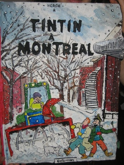 Annie Maheux Works - Bas-relief of an hypothetical oversized Tintin comic cover. 2011.
