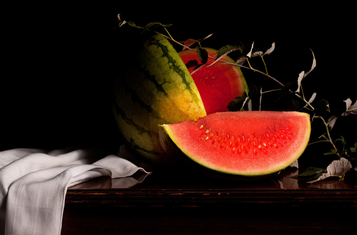 Still Life by Rachel Slepekis - Watermelon & Wild Blackberry Branch