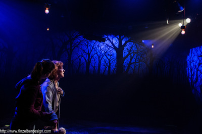 "finzelber design - Breadcrumbs ""Lighting design by Ryan Finzelber is possibly the strongest element, with striking projections of a dark, off-putting forest on the auditorium walls, illuminating the Gretel (sans Hansel) story that weaves throughout much of the present and a little into the childhood trauma past, as little Alida feels the lack of control her mother is able to bring to their lives."" - Talkin' Broadway, William S. Oser ""Reynolds' simple set is built on a platform that divides the audience in half… but it seems much more elaborate under Ryan Finzelber's lighting, which features projections of a brightly lit crescent moon and a dark, foreboding forest that suggests the darkness and fear that Alida is navigating."" - Herald Tribune, Jay Handelman"