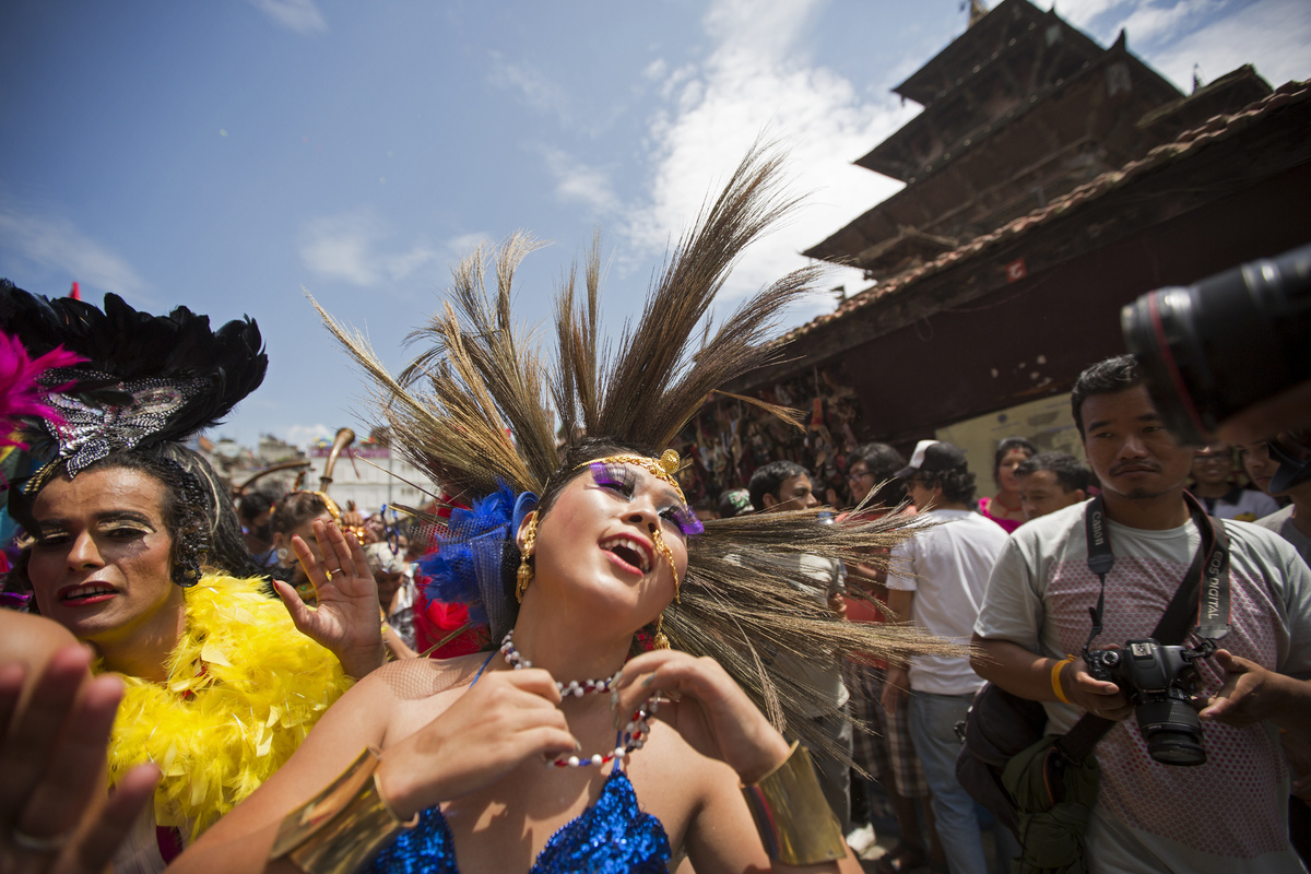 Jennifer Gonzalez | Multimedia Photojournalist - Dancing through Dubar Square during a gay rights festival. Nepal, 2013.
