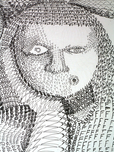 Artist Pen - pen and ink drawing using letters (enlarge)