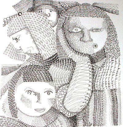 Artist Pen - pen and ink drawing using letters