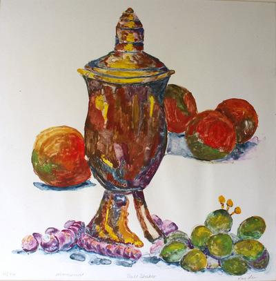 Artist Pen - Mono print of vase