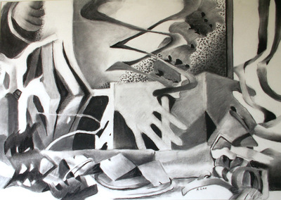 Artist Pen - Charcoal drawing from paper still life