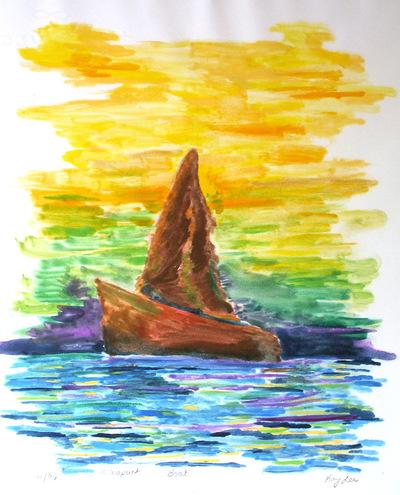 Artist Pen - Mono print of boat