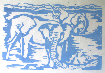 Artist Pen - Woodblock elephants