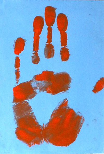 Artist Pen - Print of hand contrasting colors