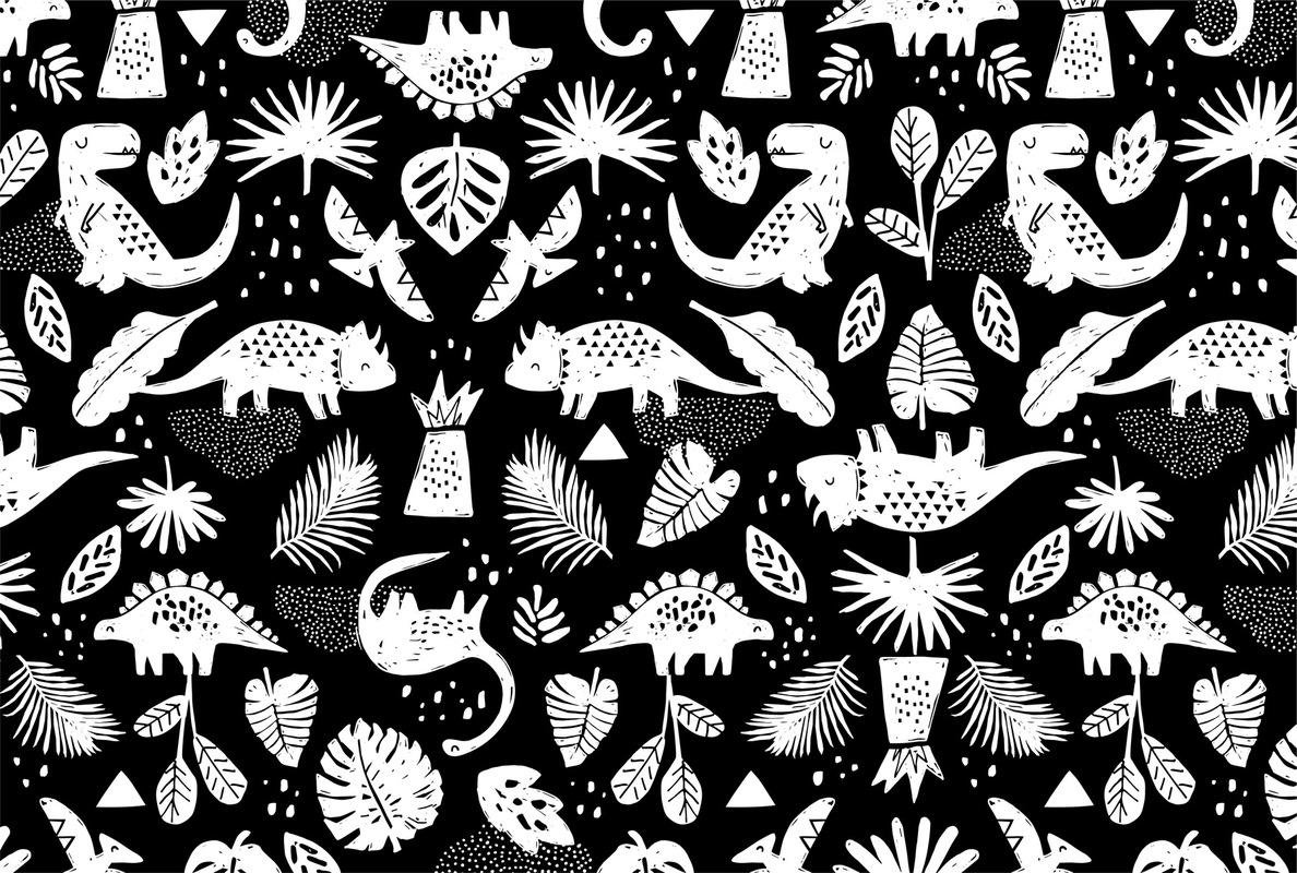 mfa -- designer textile - dinos noir et blanc -- client : Roche Papier Ciseau textile & co.