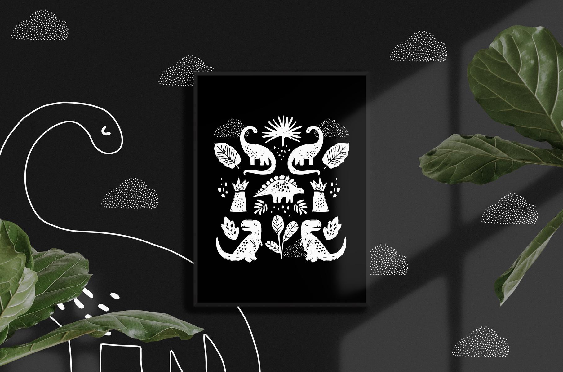 mfa -- designer textile - affiche dino noir et blanc, 12 X 16, 25$