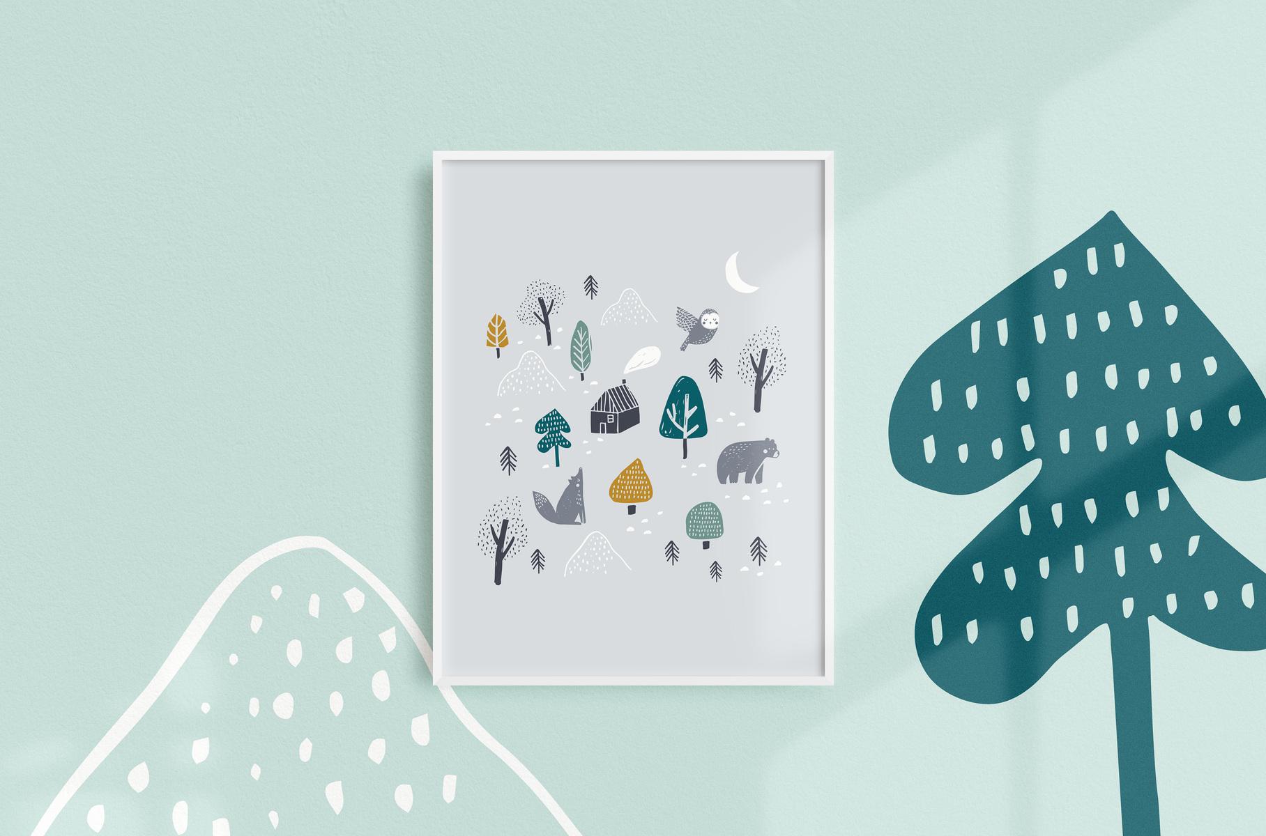 mfa -- designer textile - affiche forêt boréale, gris, 12 X 16, 25$