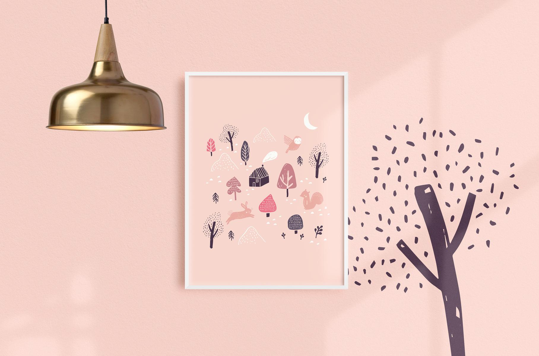 mfa -- designer textile - affiche forêt boréale, rose, 12 X 16, 25$