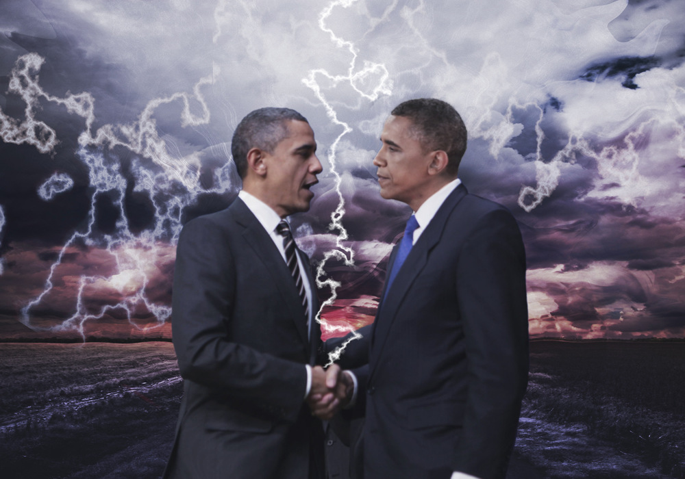 Katrina Rasma Design + Photography - Final: Obama shaking hands with Obama, photo composite + effects