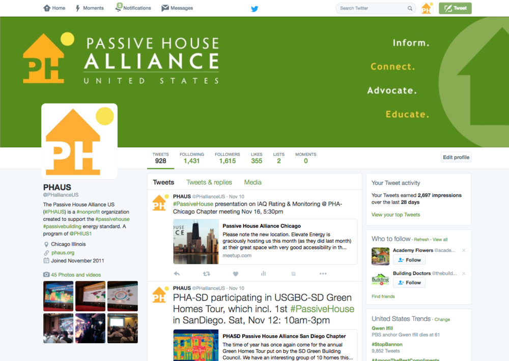 Katrina Rasma Design + Photography - Twitter headline banner, primary icon and link colors matched to the Passive House Alliance US brand standard