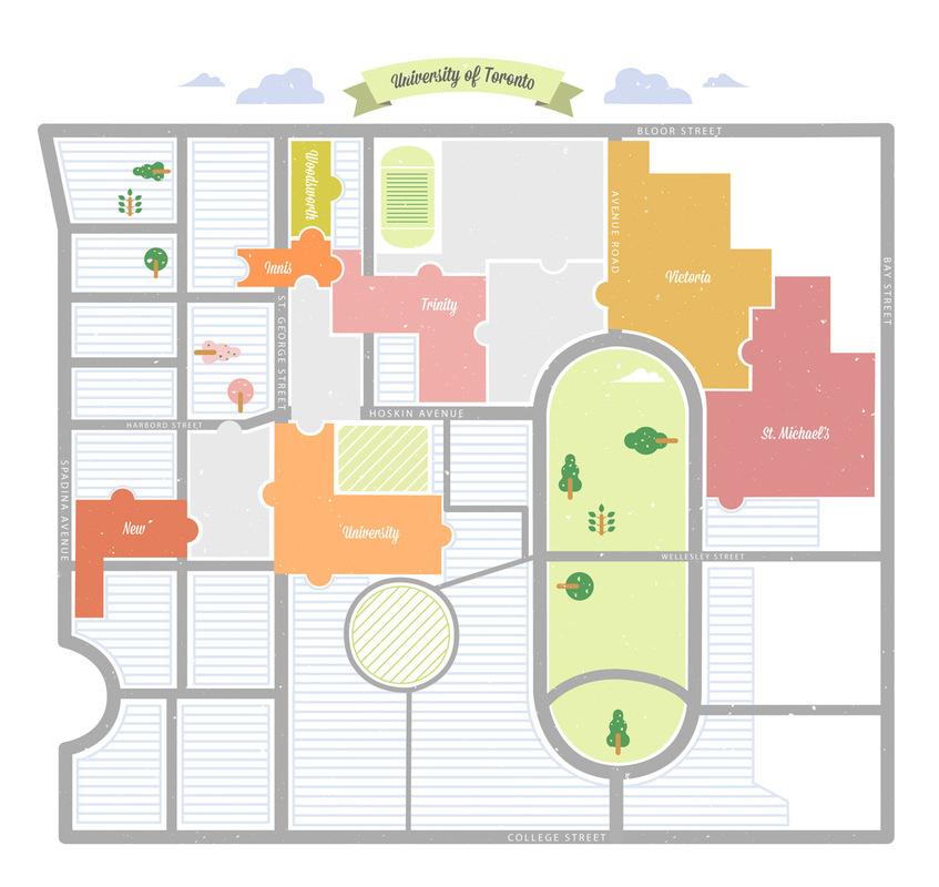 Portfolio:Doran Woo - Map illustration of Univerisity of Toronto / The Varsity