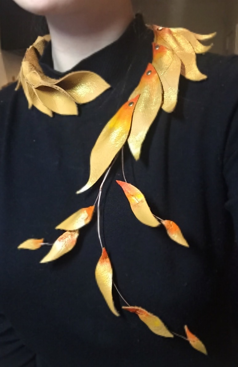 Ariel Wang - Leather leaf necklace