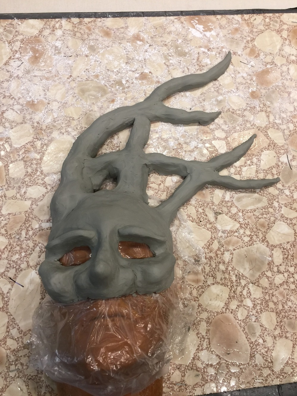 Ariel Wang - Paper Mache Mask in process