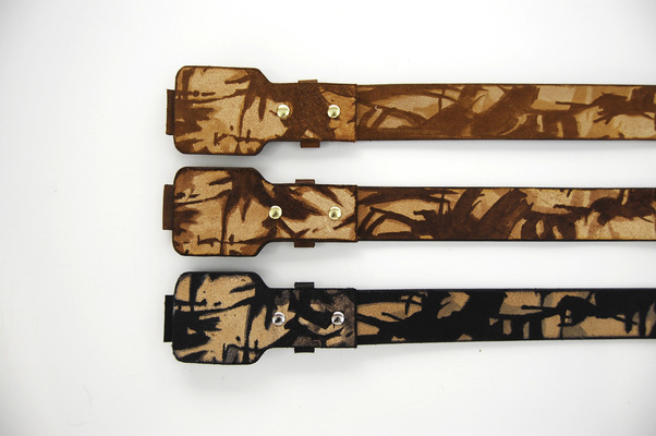 Brendan Kuletz - Belt backs hand painted camouflage .