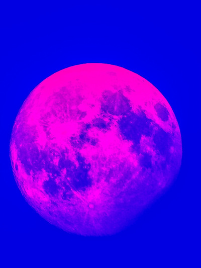 Andy Gershon Photography - Almost Full Moon(Pink/Blue) Inkjet on Canvas