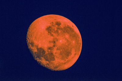 Andy Gershon Photography - Almost Full Moon (Orange/Navy) Inkjet on Canvas