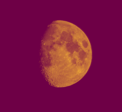 Andy Gershon Photography - 3/4 Full Moon (Orange/Purple) Inkjet on Canvas