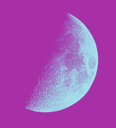 Andy Gershon Photography - Half Moon (Aqua/Purple) Inkjet on Canvas