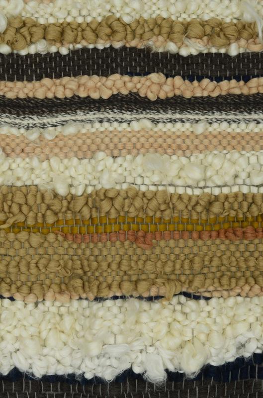 Daniela Guarin - Detail. Roving Textile; organic cotton roving, hand spun natural baby alpaca, milk roving, bamboo silk roving