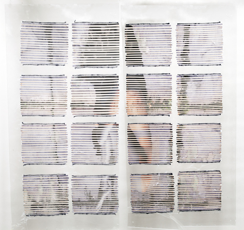 Daniela Guarin - Engrained; film paper, nylon and cotton on plexi-glass, 60x60