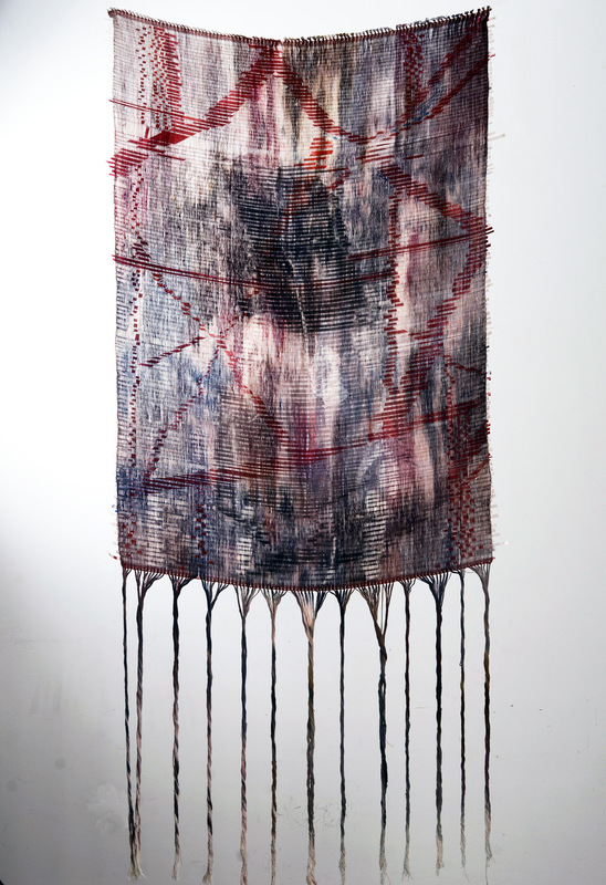 Daniela Guarin - Mine; film paper, dyed cotton and acrylics, 40x70