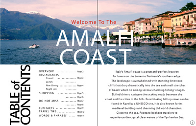 Natallie Rainer Graphic Design Portfolio - Amalfi Coast page 1-2