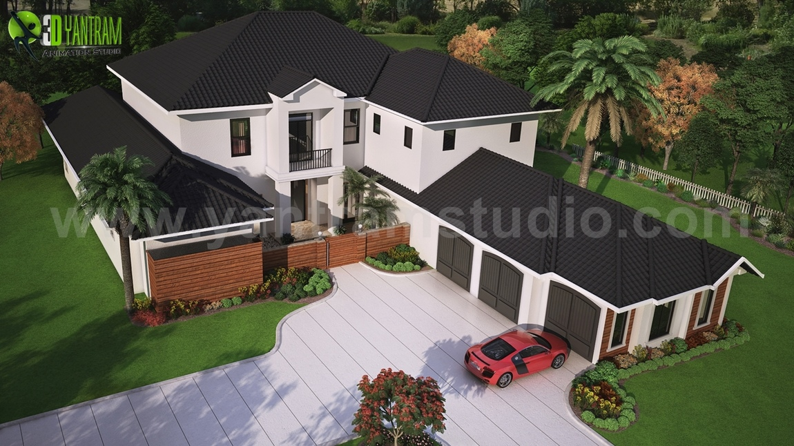 Yantram Studio - Modern 3D Exterior Rendering (top view) with brown metal roof House by Yantram Architectural Visualisation Studio, Washington - USA