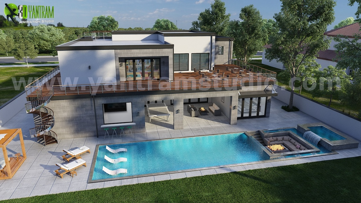 Yantram Studio - 3D Exterior Walkthrough Home Design with Pool Side Evening view by Architectural Visualisation Studio, Cape Town - South Africa